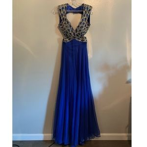 Royal Blue formal gown with ornate beading